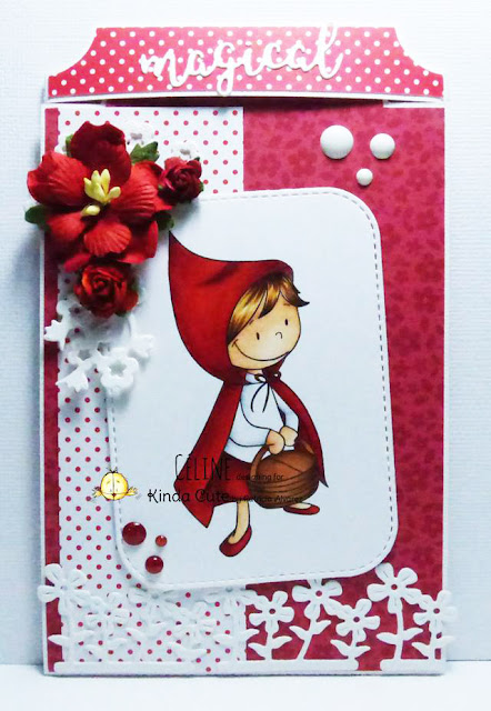 Card using little red riding hood digital stamp