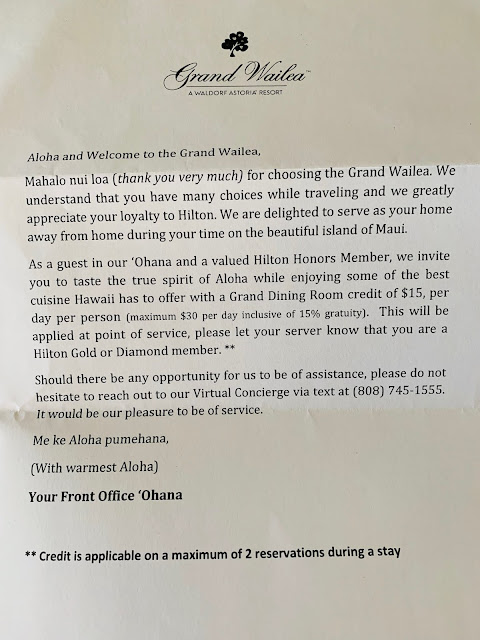 Grand Wailea Welcome Letter Grand Dinning Room