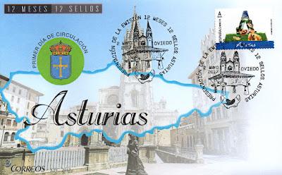 Sobre con el matasellos de presentación del sello de Asturias