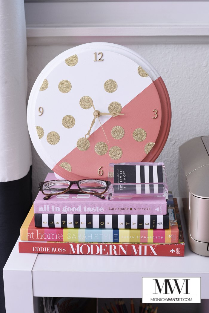 DIY gold polka dot clock tutorial via monicawantsit.com