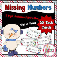 Winter 2 Digit Missing Numbers Task Cards