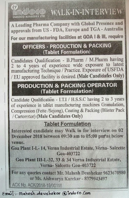 Indoco remedies Ltd Walk In Interview on