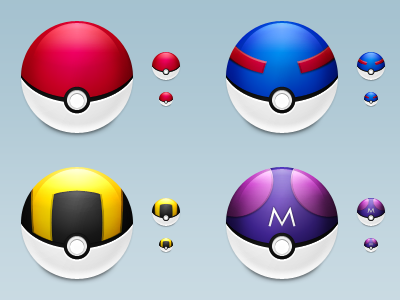 PokeBall, GreadBall, UltraBall dan MaterBall