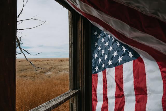 flag in farmhouse
