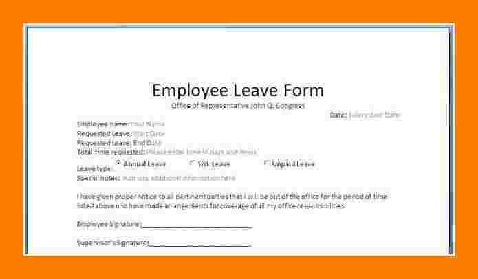 Staff Leave Application Form Format  Employee Leave Application Form