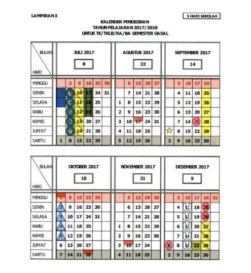 Kalender Pendidikan 2017-2018 5 Hari Sekolah