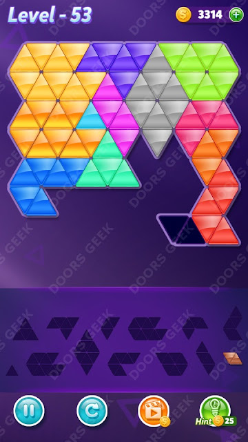 Block! Triangle Puzzle Champion Level 53 Solution, Cheats, Walkthrough for Android, iPhone, iPad and iPod