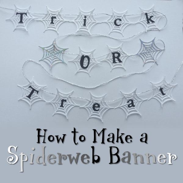 How to Make a Spider Web Halloween Banner Decoration Spiderweb Garland Bunting Hanging Decor DIY Craft Tutorial Instructions