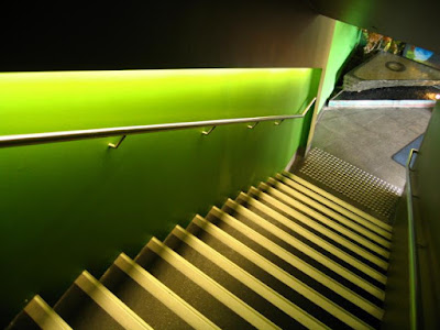 staircase railing with LED stair lights