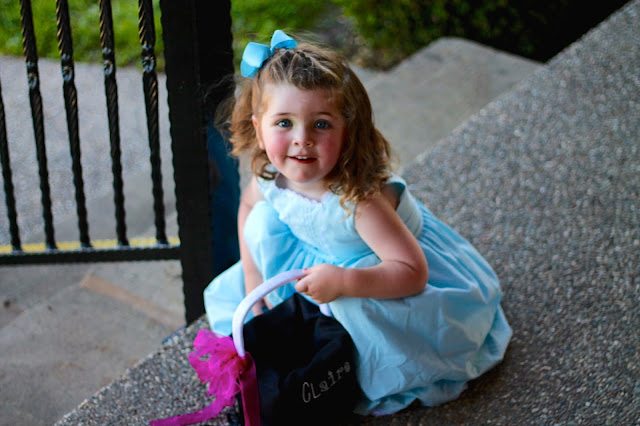 blue special occasion dress for little girl