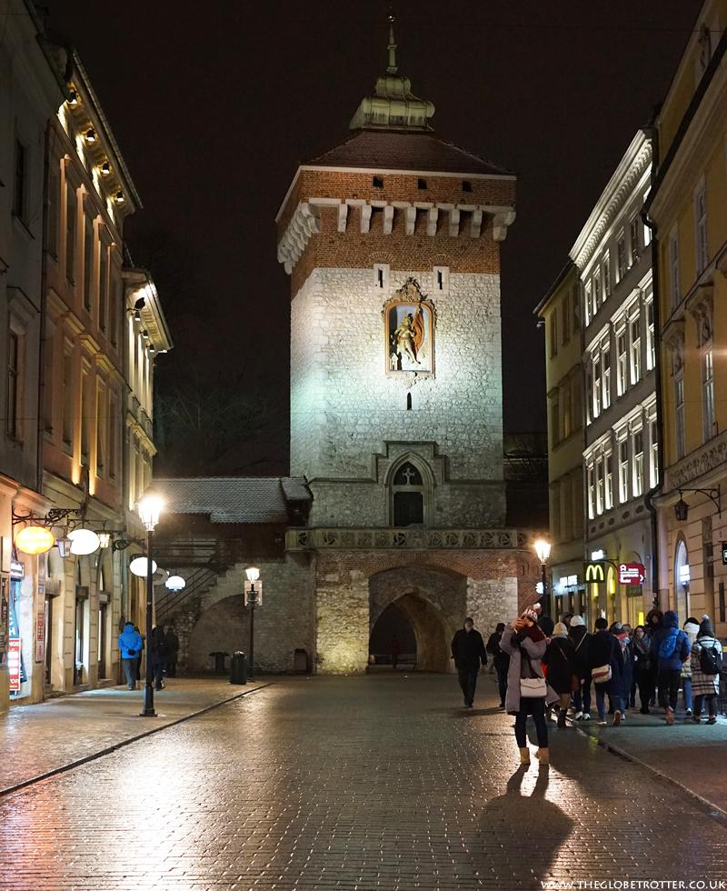 Floriańska Gate in Krakow Old Town