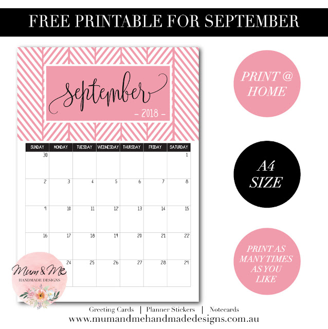Free Printable Monthly Calendar - Watermelon Pink Herringbone by Mum and Me Handmade Designs
