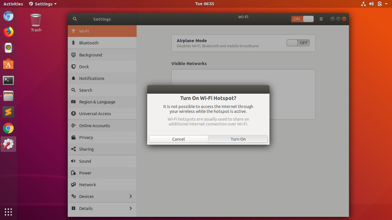 How to Create WIFI Hotspot from Ubuntu 18 04 Laptop