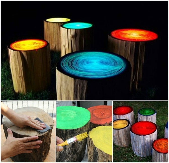 How to Create Glow in the Dark Log Campfire Stools