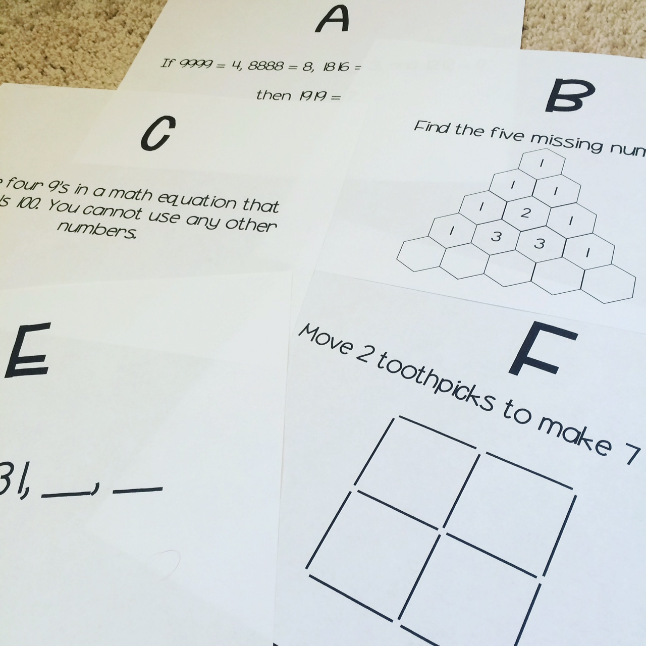 Math brain teasers worksheets for middle school