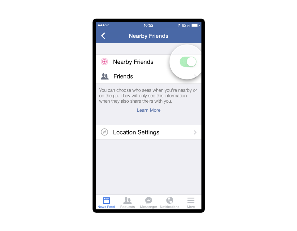 facebook nearby friends location settings