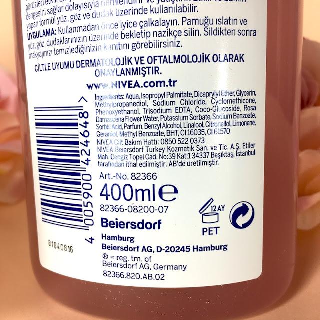 nivea micellair gül suyu içeren çift fazlı temizleme suyu içerik