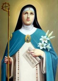 Imagen de Santa Angela de Foligno con capa celeste