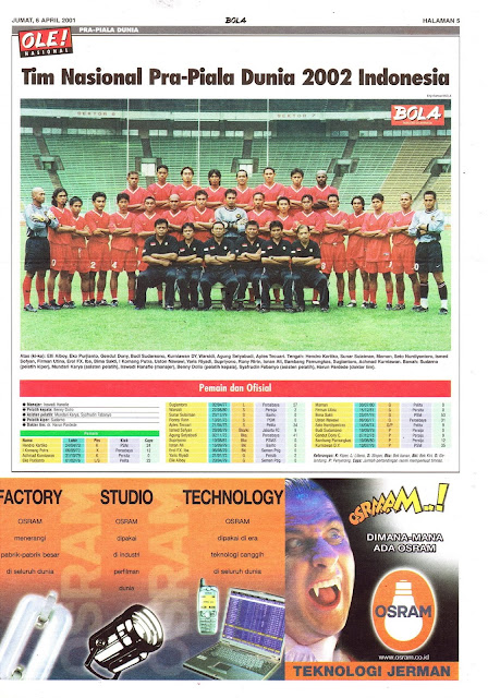 TIM NASIONAL PRA-PIALA DUNIA 2002 INDONESIA