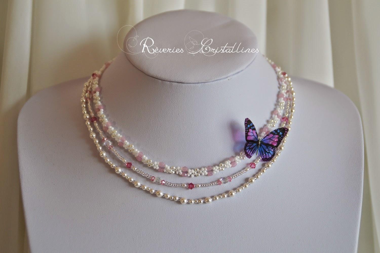 collier mariage papillon et perles