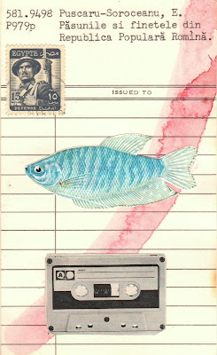 bergson library card postage stamp cassette fish Dada Fluxus mail art collage