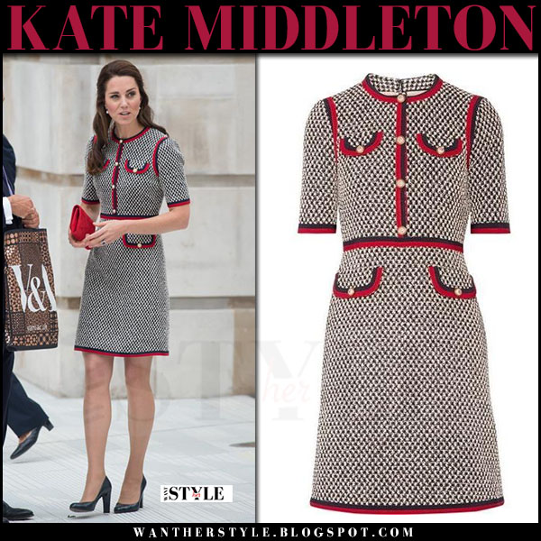 Kate Middleton in grey tweed mini dress with red trim from Gucci what she wore june 29 2017