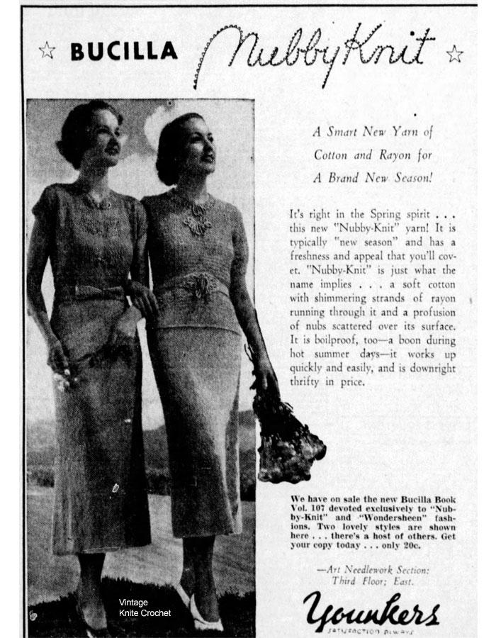 Vintage Knit Crochet - Bits of History: Bucilla Nubby Knit Yarn