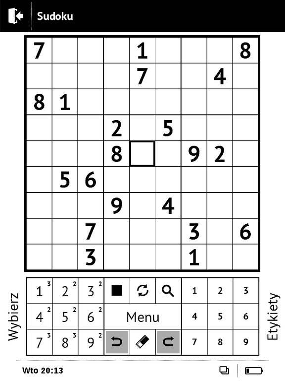 Sudoku na czytniku PocketBook Basic Touch 2 Save & Safe
