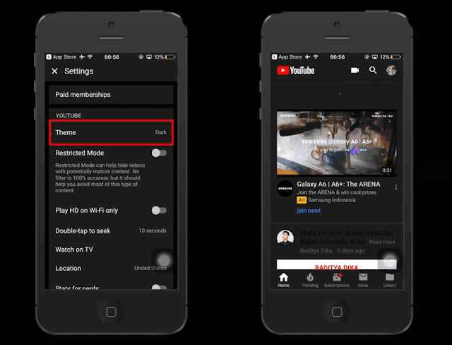 Cara Mengaktifkan Dark Mode YouTube di iPhone