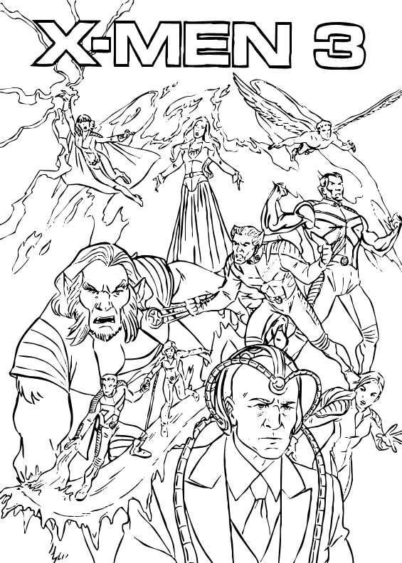 Wolverine, magneto, clyclope, etc … beautiful x men coloring page to print and color. X Men Coloring Pages Team Colors