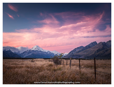 Aoraki, Mt Cook, Sunset, Road