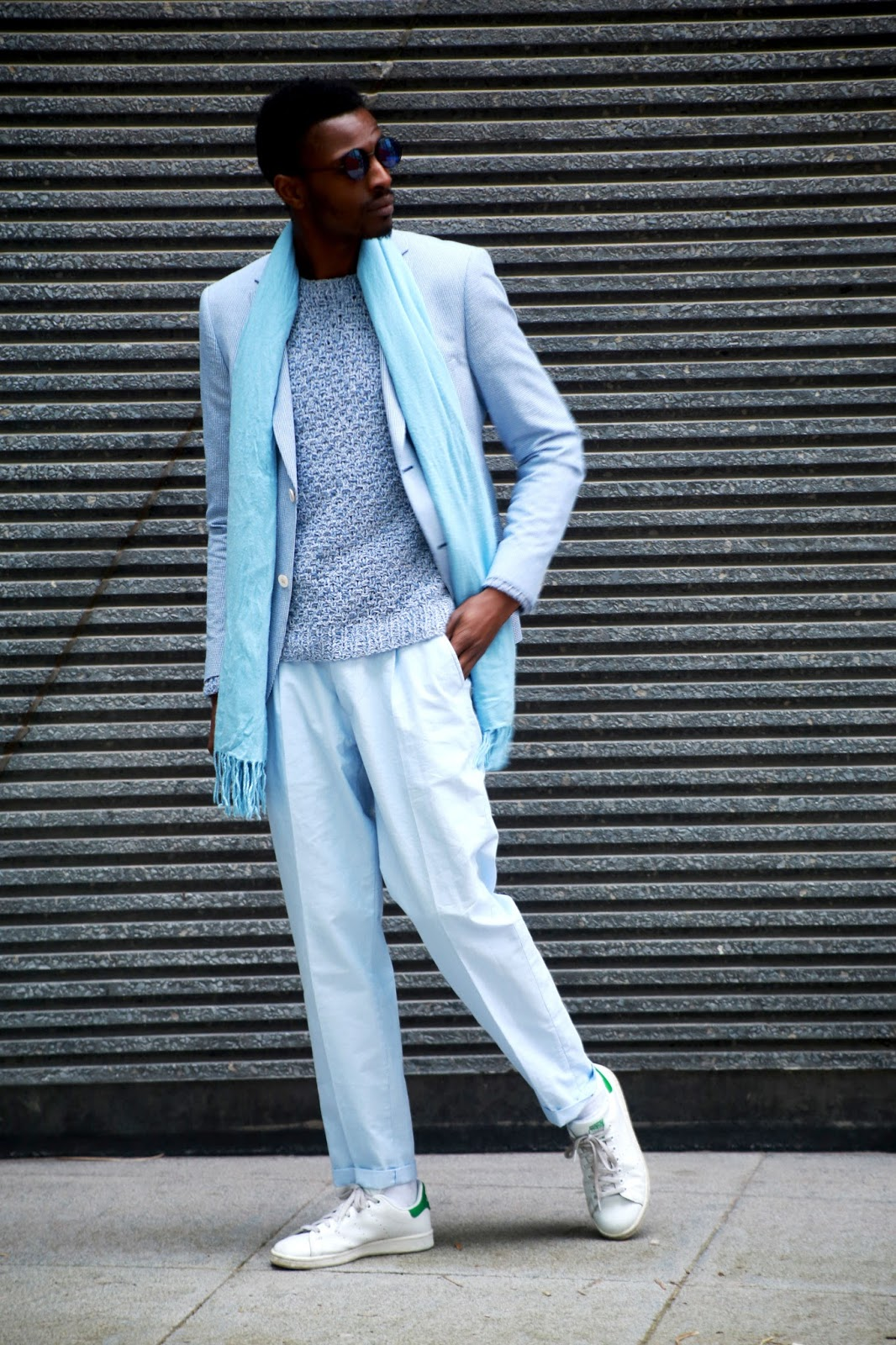 Style Challenge : Wear a baby blue city look with pyjama pants - Men's Style Blog by jon the gold