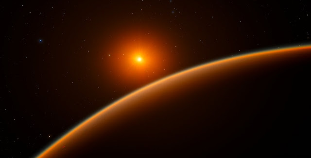 "This artist's impression shows the exoplanet LHS 1140b, which orbits a red dwarf star 40 light-years from Earth and may be the new holder of the title ""best place to look for signs of life beyond the Solar System"". Credit: ESO/spaceengine.org"