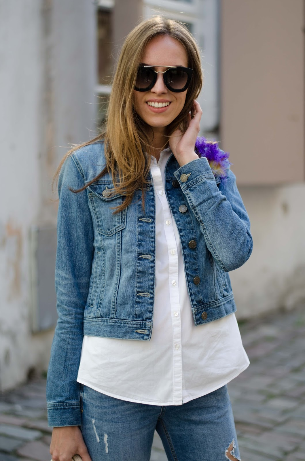 kristjaana mere denim jacket white shirt jeans spring outfit
