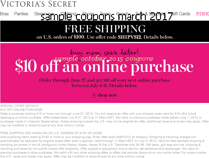 Victoria secret printable coupon october 2018