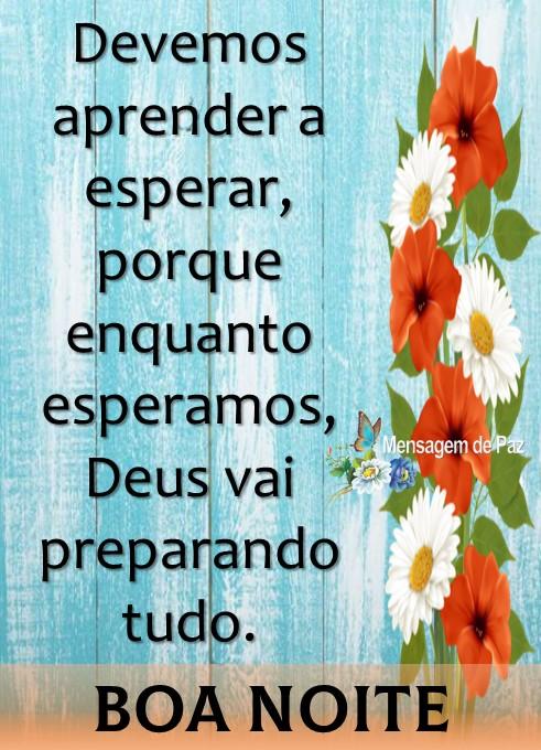 Devemos aprender a esperar,   porque enquanto esperamos,   Deus vai preparando tudo.  Boa Noite!