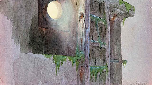 Disney 1940 animation background, a port hole on a foggy night