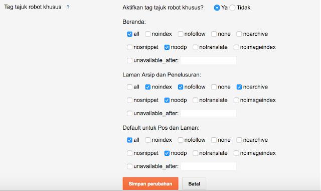 setting robot txt khusus di blogspot