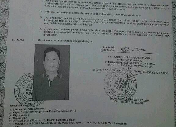 Alasan  Tak Jelas, Chin Chow Hee  Tak Penuhi Panggilan UPT Pengawasan TKA