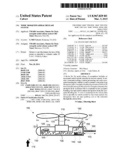 das patent hat ein gewisser s mill calvert 2014 eingereicht und das us patentamt hat es 2015 genehmigt