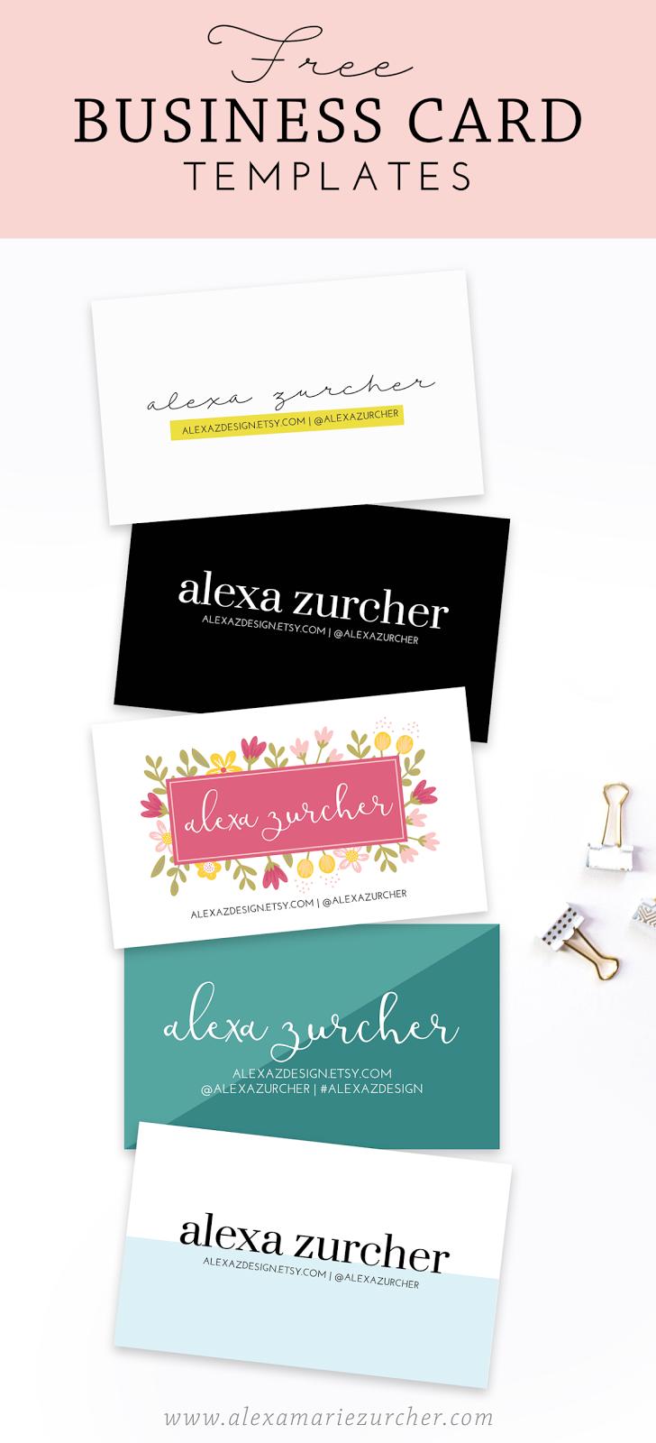 FREE Business Card Templates / Alexa Zurcher