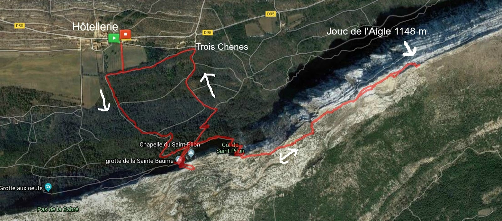 Hike trail to Jouc de l'Aigle Sainte Baume