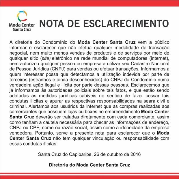 Nota de Esclarecimento do Moda Center Santa Cruz
