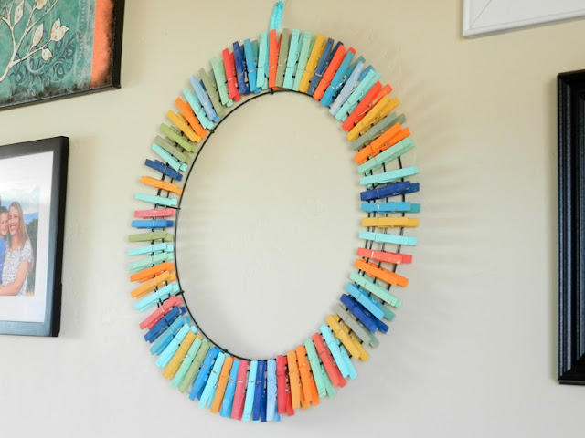 colorful clothespin wreath