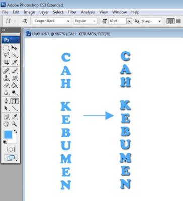 Cara Membuat Efek Tulisan Bayangan/Shadow Teks di Photoshop CS 3