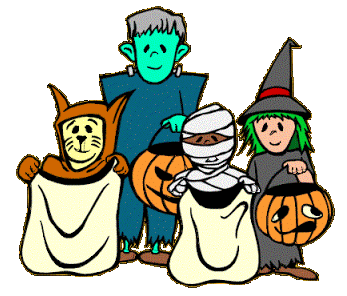 Cartoon trick or treaters