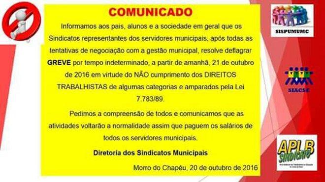 COMUNICADO: Sindicado dos Servidores Municipais de Morro do Chapéu