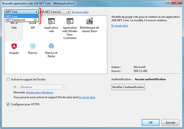 Visual Studio - Nouveau Projet .NET Core
