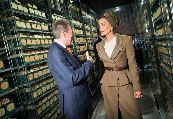 Sheikha Moza bint Nasser wore Ulyana Sergeenko suit from Fall 2017 Collection and Jean Paul Gaultier suit from Spring 2017 Couture Collection