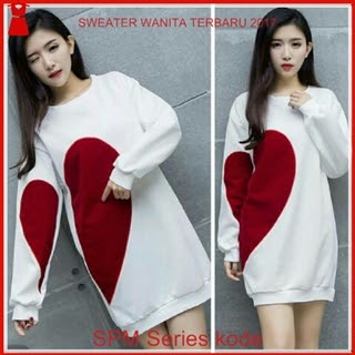 10SPM Sweater Wanita Putih Anona Cantik Love Bj6110